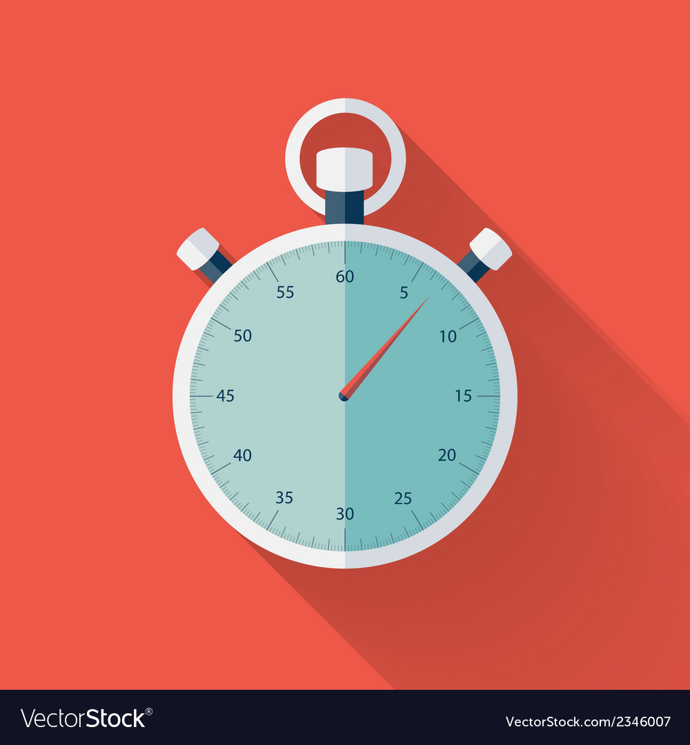 Flat stopwatch icon over red vector | Price: 1 Credit (USD $1)