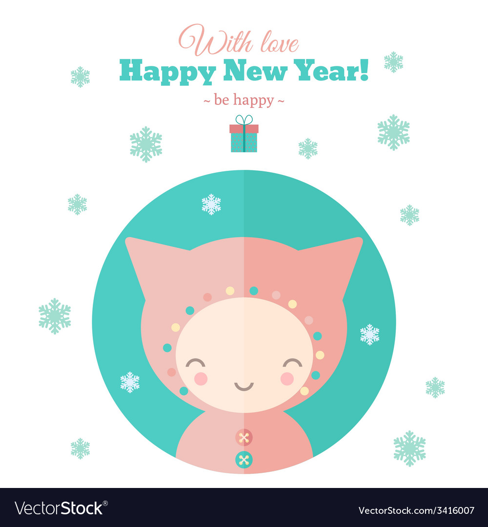 Greeting card with fun child for new year in flat vector | Price: 1 Credit (USD $1)