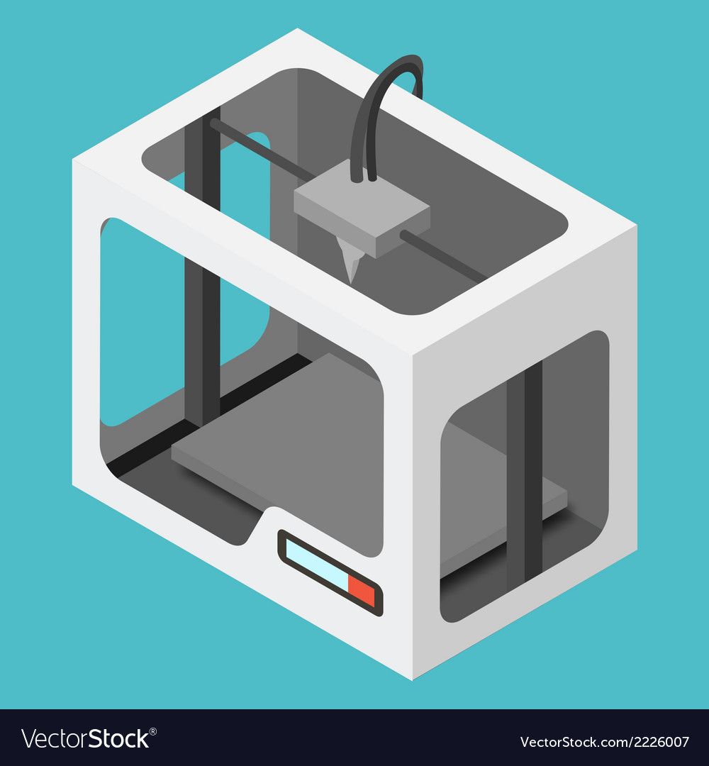 Isometric 3d printer on a blue background vector | Price: 1 Credit (USD $1)