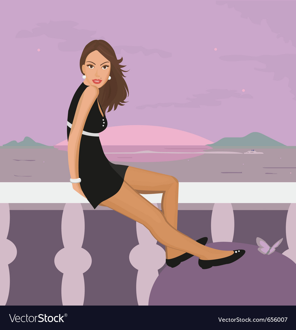 Lady on balcony vector | Price: 1 Credit (USD $1)