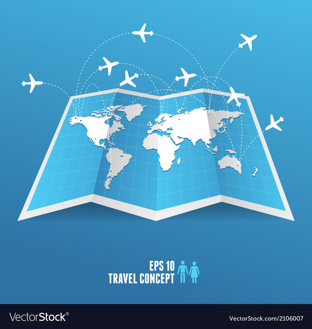 Map icon and airplane vector | Price: 1 Credit (USD $1)