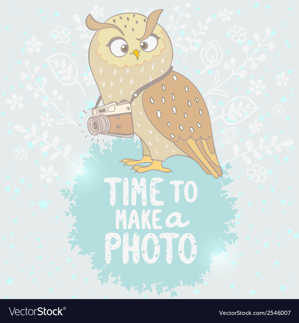 Owl and camera vector | Price: 1 Credit (USD $1)