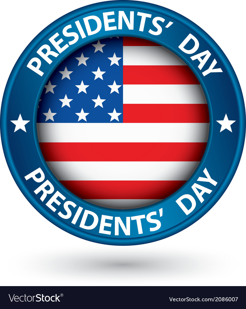 Presidents day blue label with usa flag vector | Price: 1 Credit (USD $1)