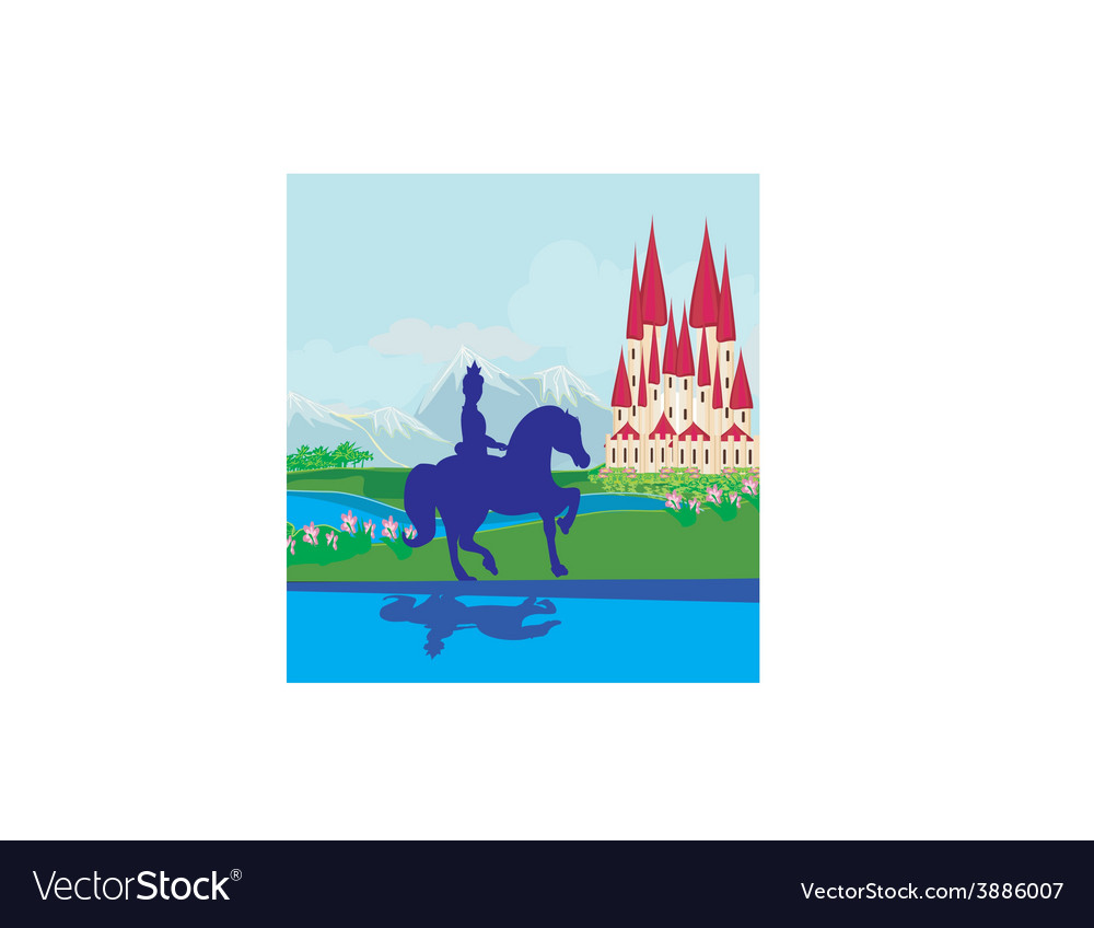 Prince riding a horse to the castle vector | Price: 1 Credit (USD $1)
