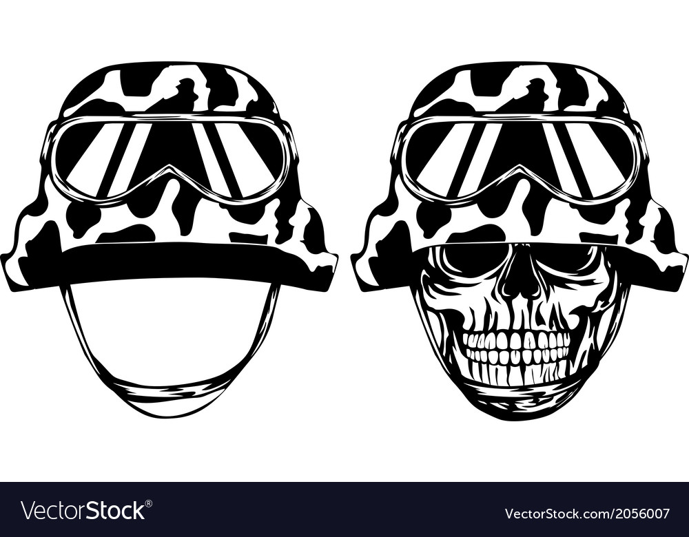 Skull in helmet and helmet vector | Price: 1 Credit (USD $1)