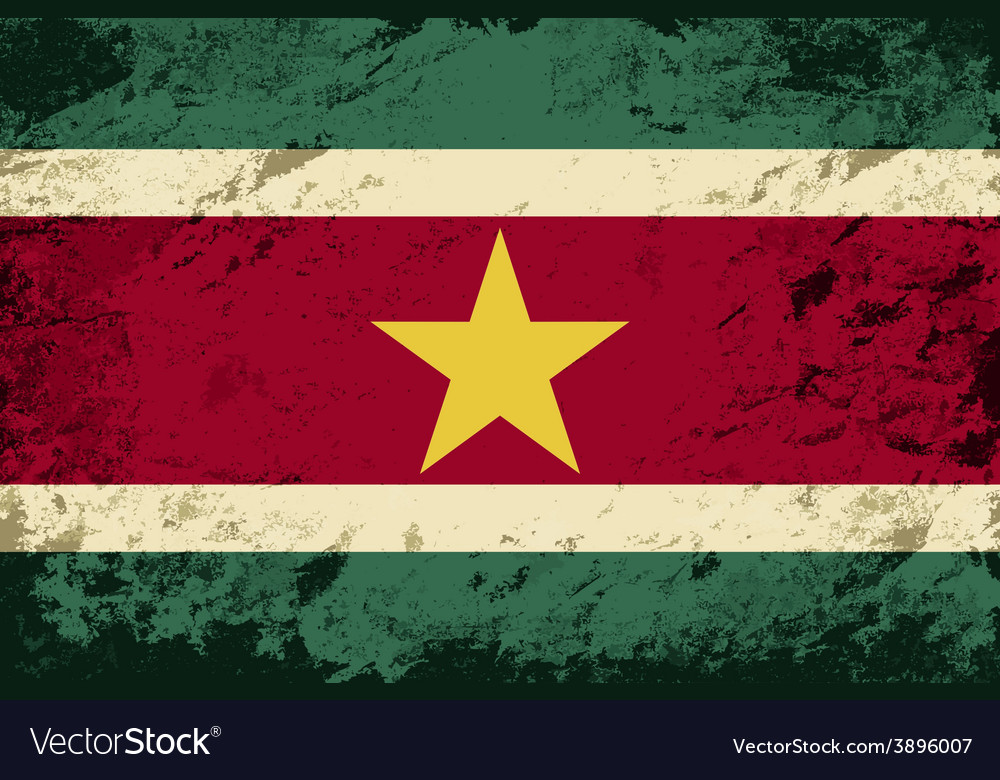 Surinamese flag grunge background vector | Price: 1 Credit (USD $1)
