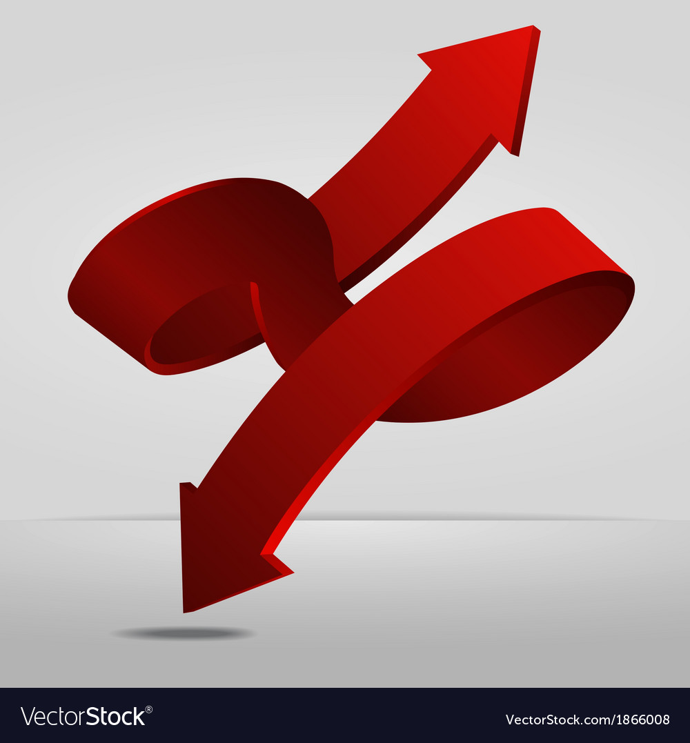 3d red spiral arrow dual directions pointer sign vector | Price: 1 Credit (USD $1)