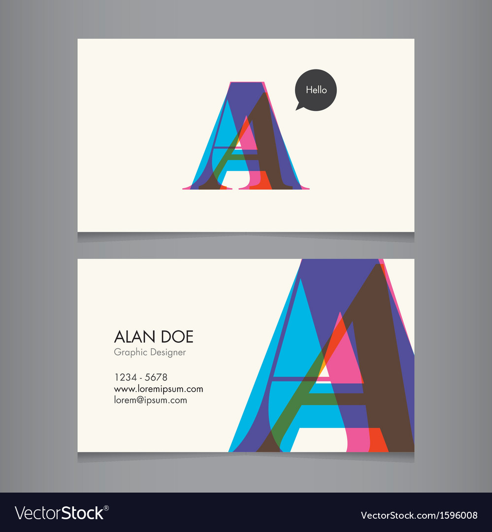Business card template letter a vector | Price: 1 Credit (USD $1)