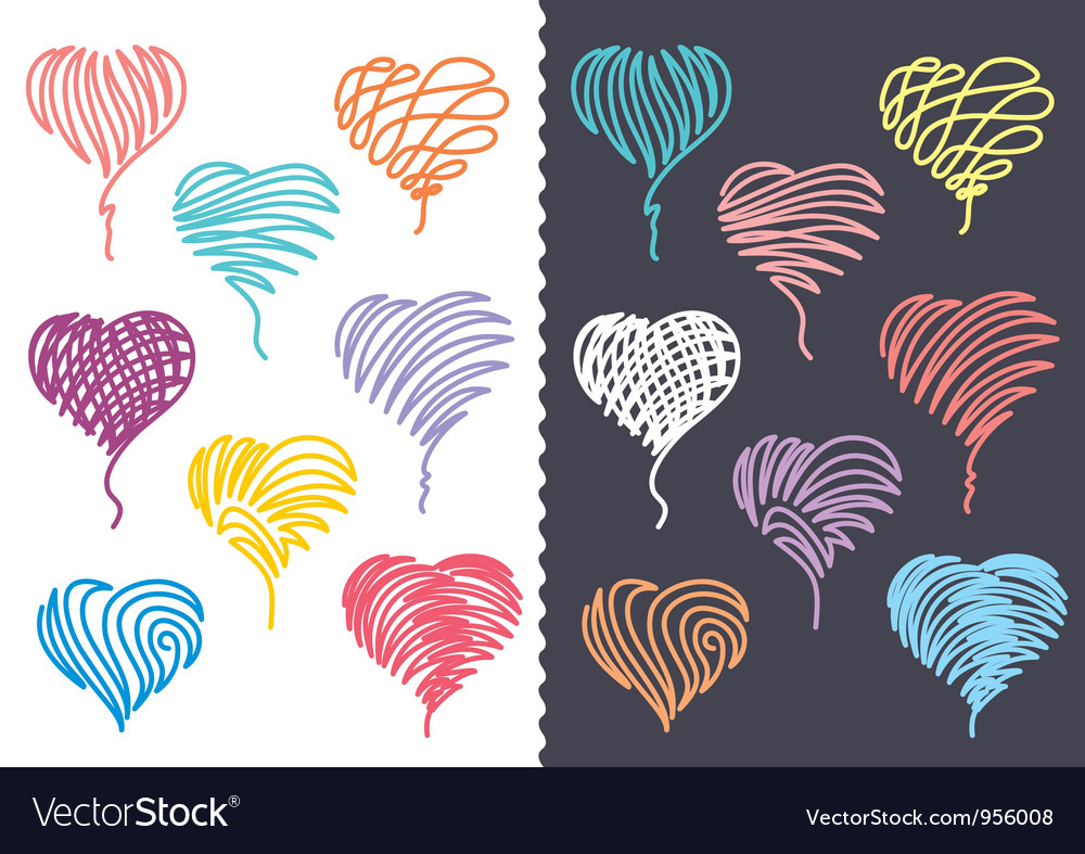 Color hand drawn hearts set vector | Price:  Credit (USD $)