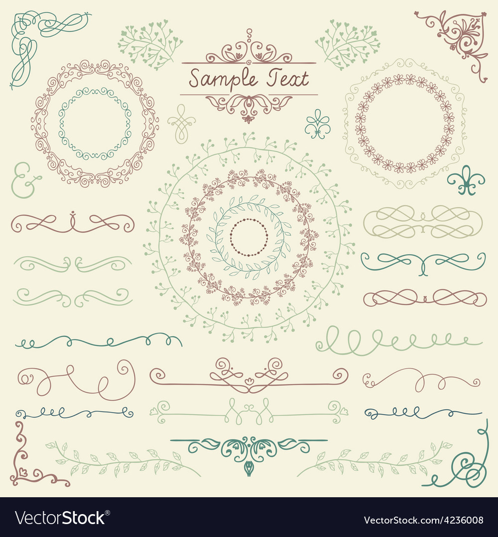 Colorful hand sketched design elements vector | Price: 1 Credit (USD $1)