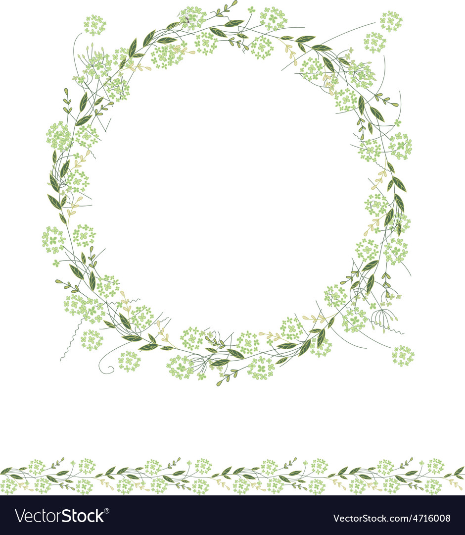 Detailed contour wreath and seamless pattern brush vector   Price: 1 Credit (USD $1)