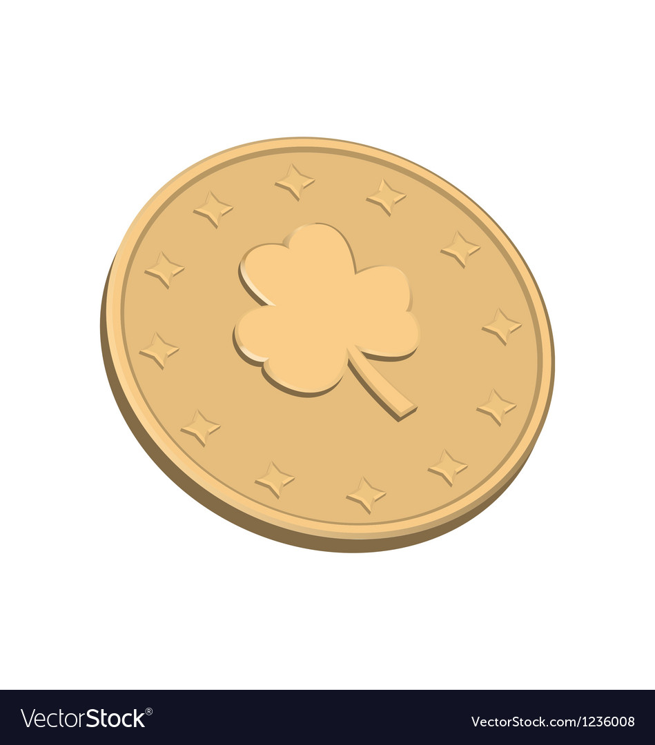 Golden coin with clover vector | Price: 1 Credit (USD $1)