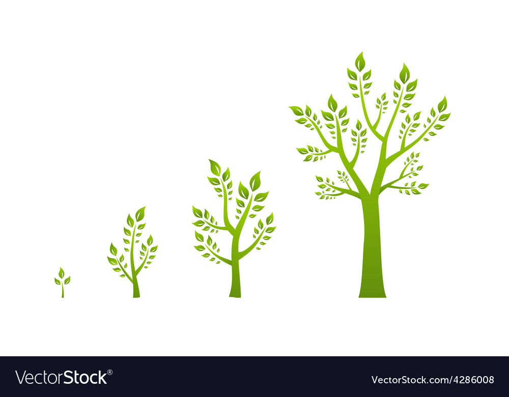 Green tree growth eco concept vector | Price: 1 Credit (USD $1)