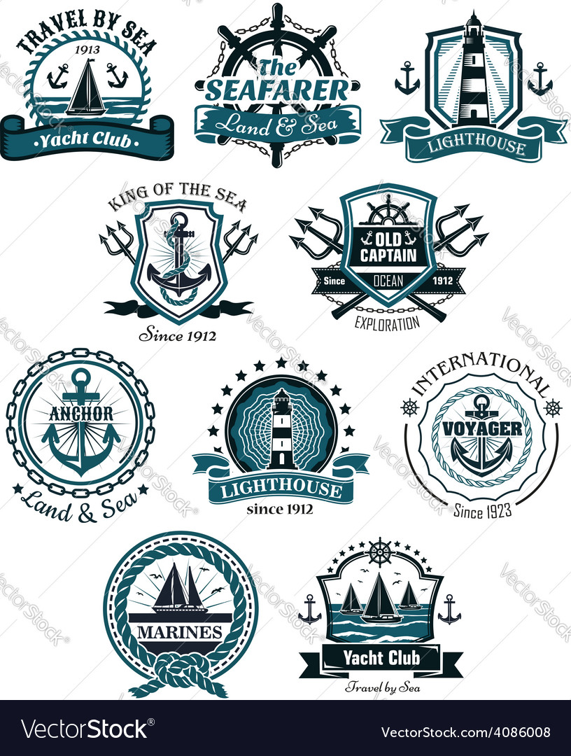 Marine emblems and banners vector   Price: 1 Credit (USD $1)