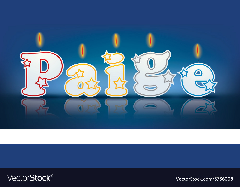 Paige written with burning candles vector | Price: 1 Credit (USD $1)