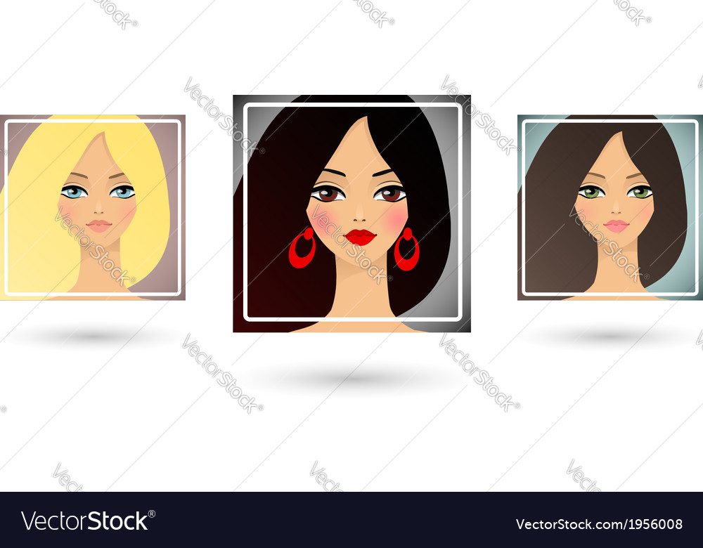 Set of three beautiful girls avatar vector | Price: 1 Credit (USD $1)