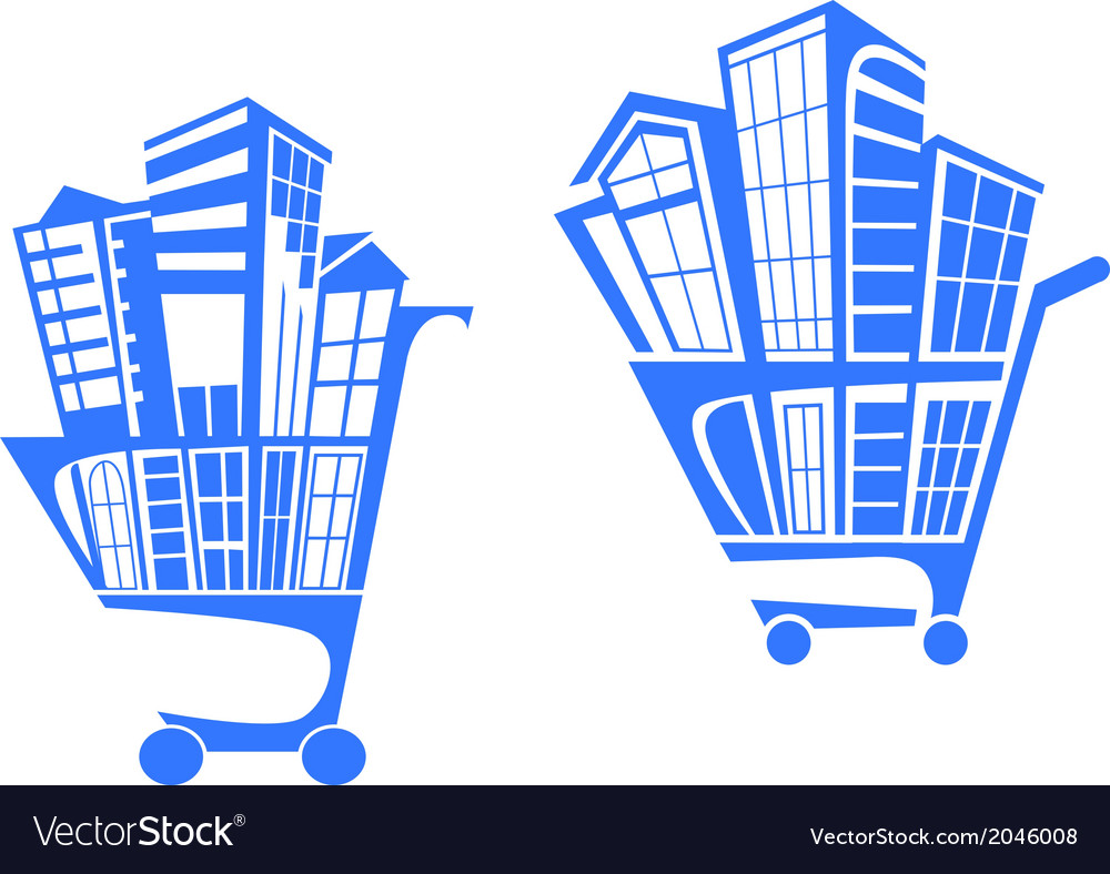 Shopping cart with buildings vector | Price: 1 Credit (USD $1)