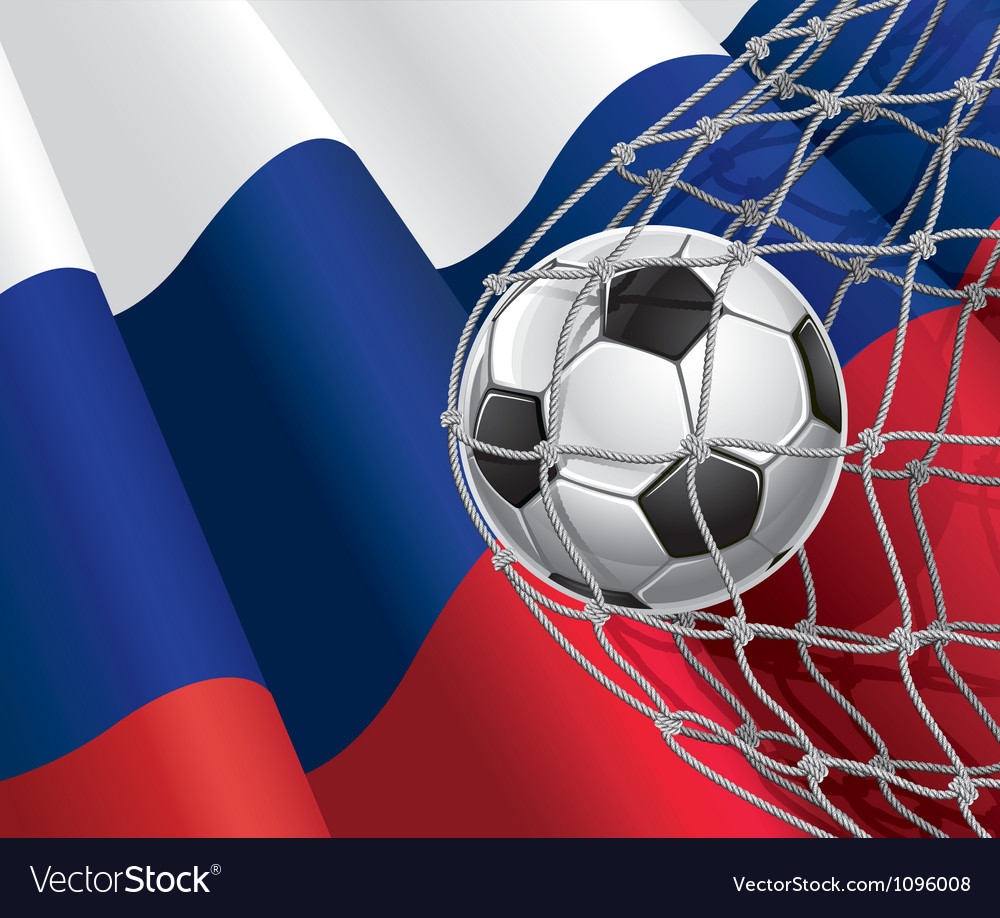 Soccer goal and russia flag vector | Price: 1 Credit (USD $1)
