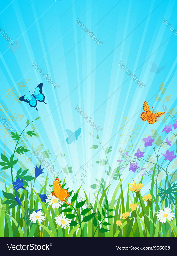 Sunny meadow vertical version vector | Price: 3 Credit (USD $3)