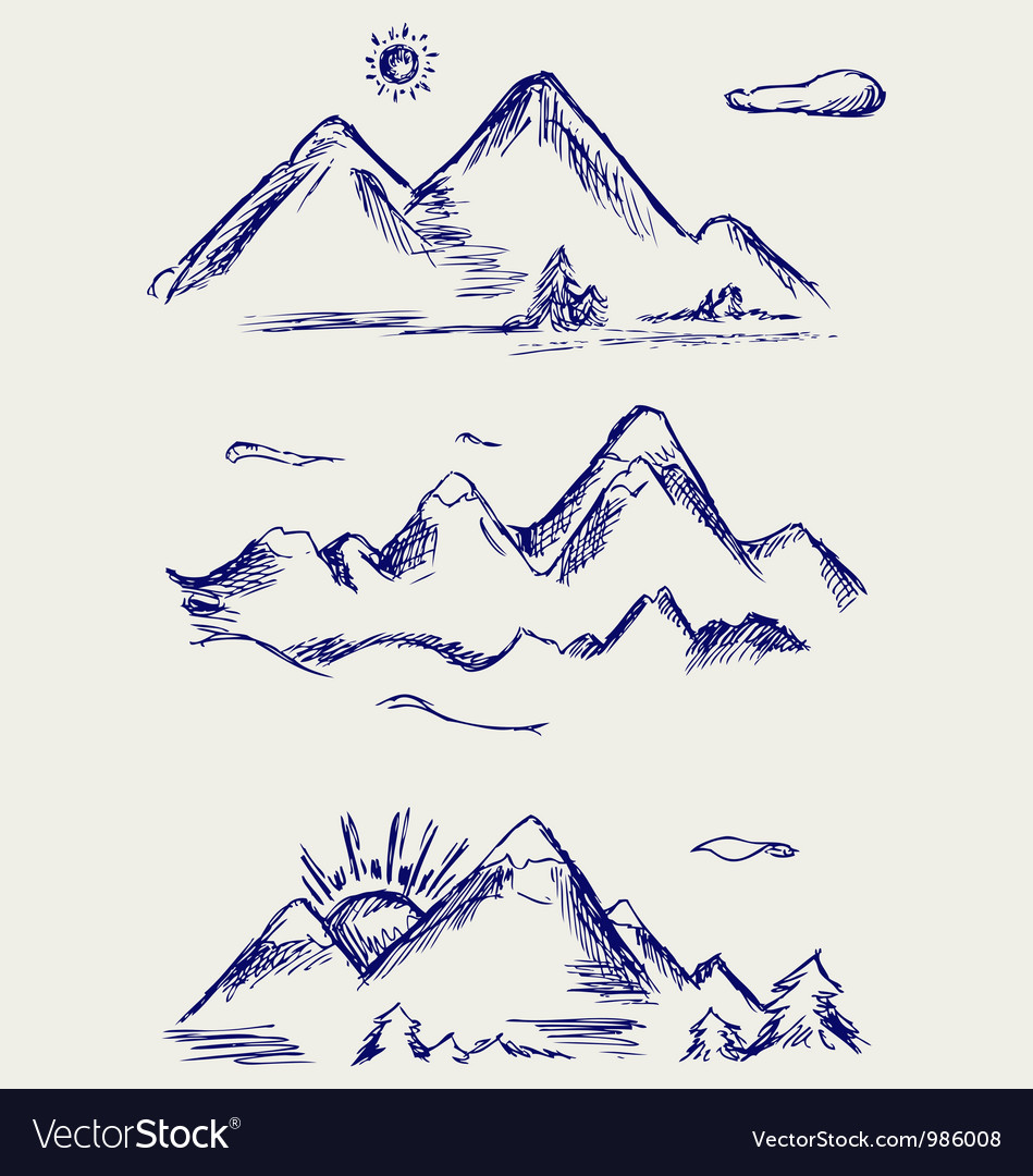 Various high mountain peaks vector | Price: 1 Credit (USD $1)