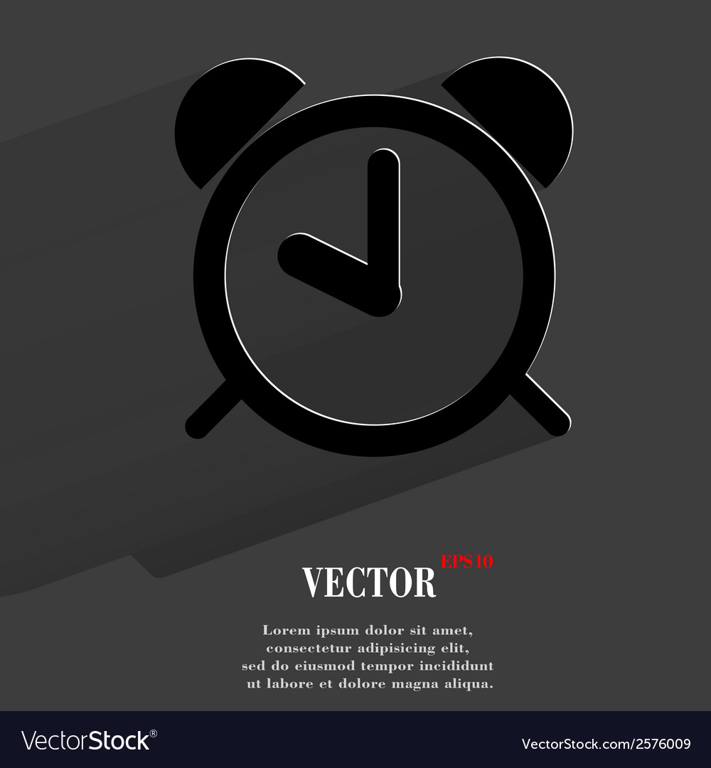 Alarm clock flat modern web button with long vector | Price: 1 Credit (USD $1)