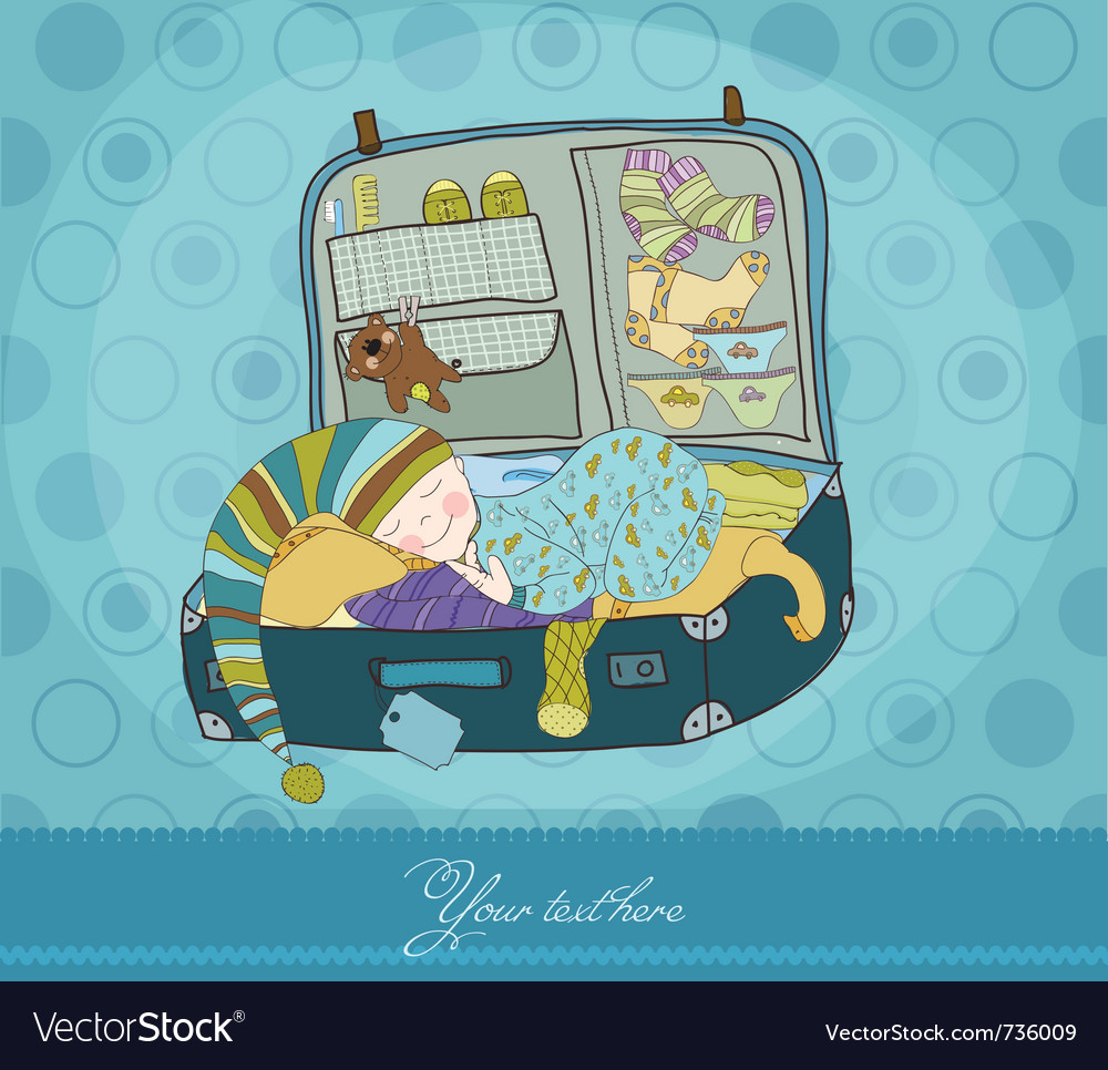 Baby boy sleeping in suitcase arrival card vector | Price: 1 Credit (USD $1)