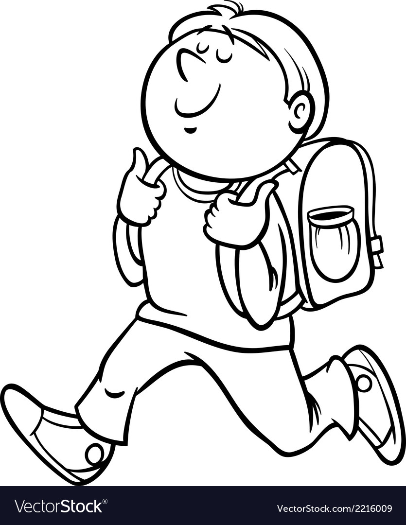 Boy grade student coloring page vector | Price: 1 Credit (USD $1)