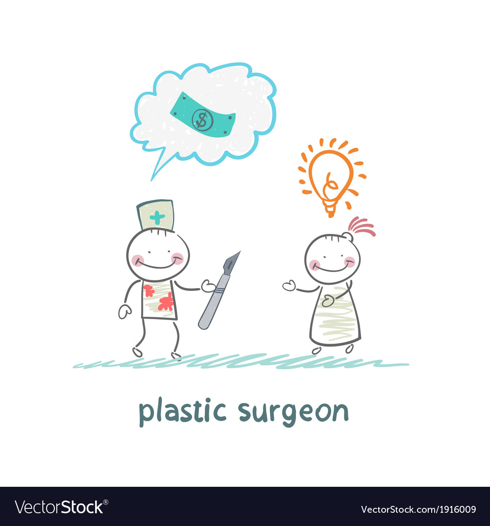 Plastic surgeon thinks about money and listening vector | Price: 1 Credit (USD $1)