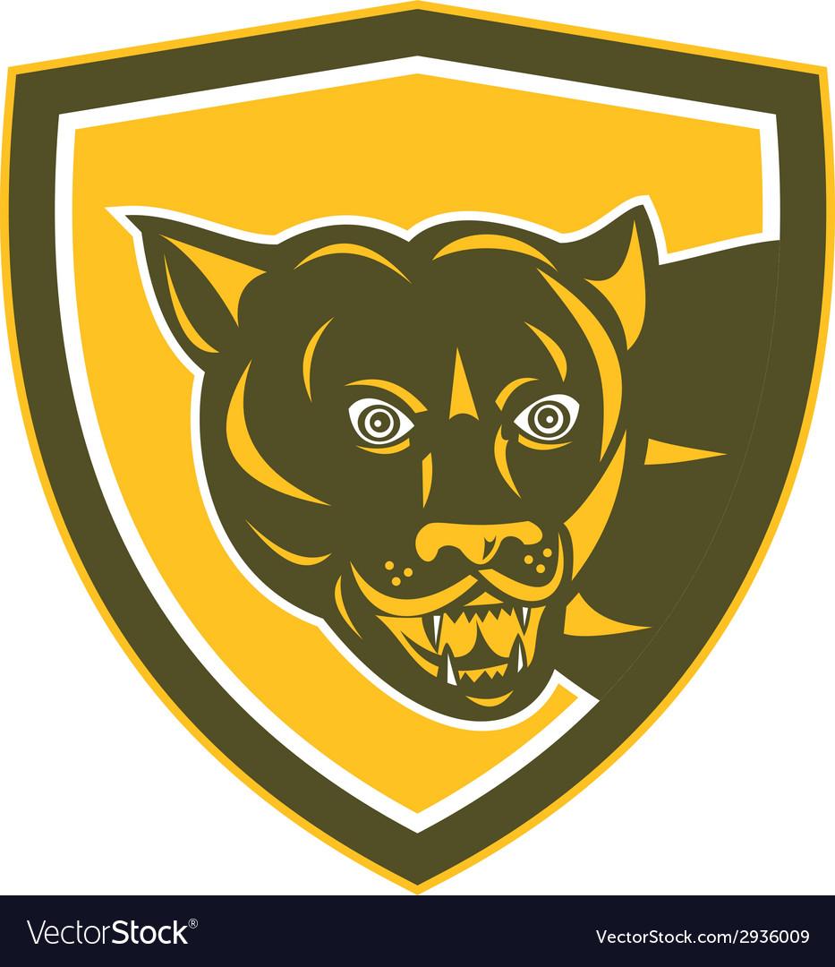 Puma mountain lion head prowl shield retro vector | Price: 1 Credit (USD $1)