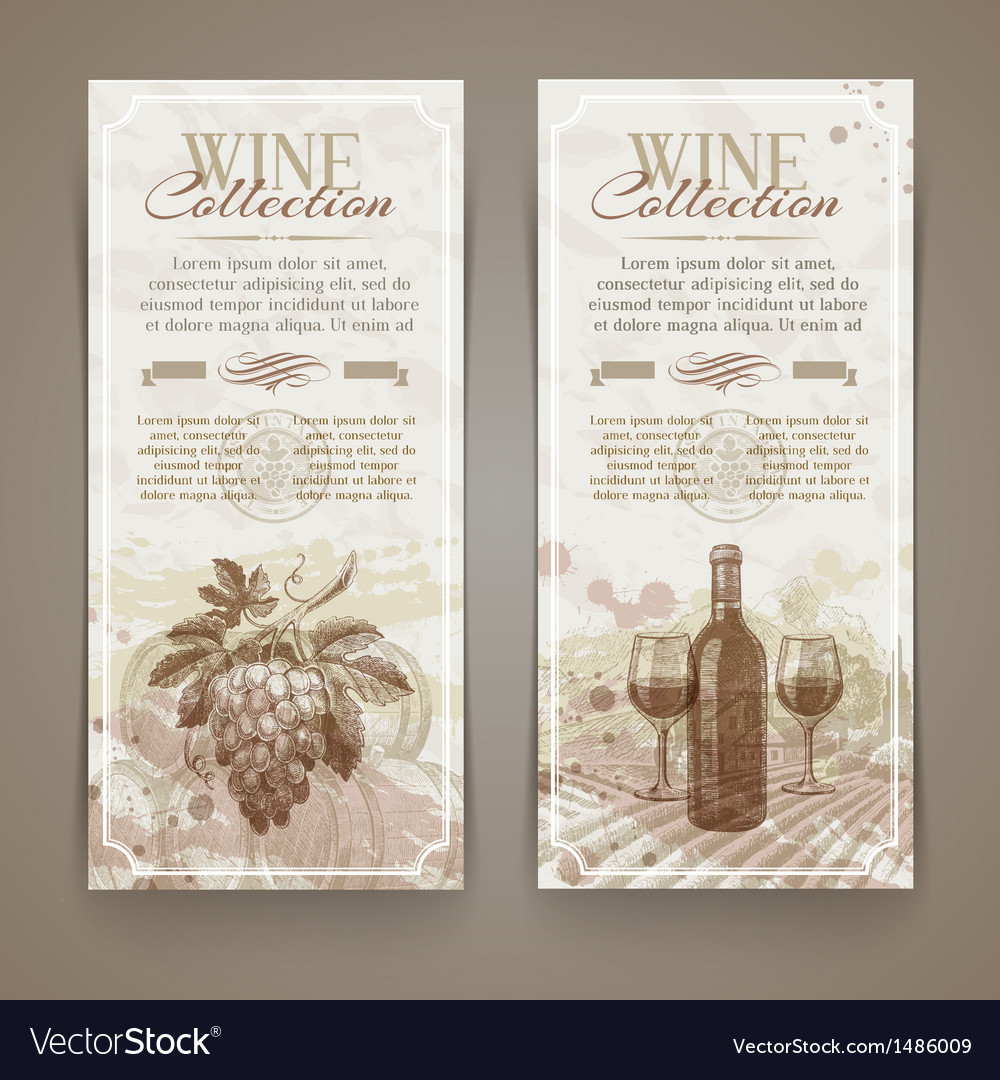 Wine and winemaking vintage banners vector | Price: 1 Credit (USD $1)