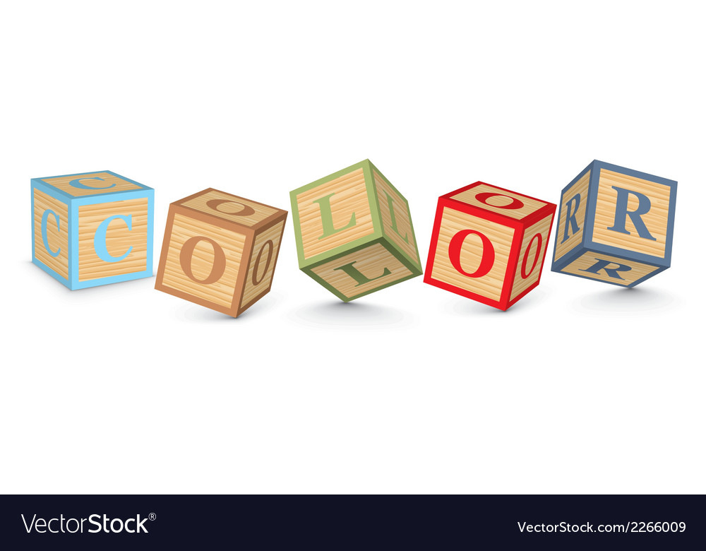 Word color written with alphabet blocks vector | Price: 1 Credit (USD $1)