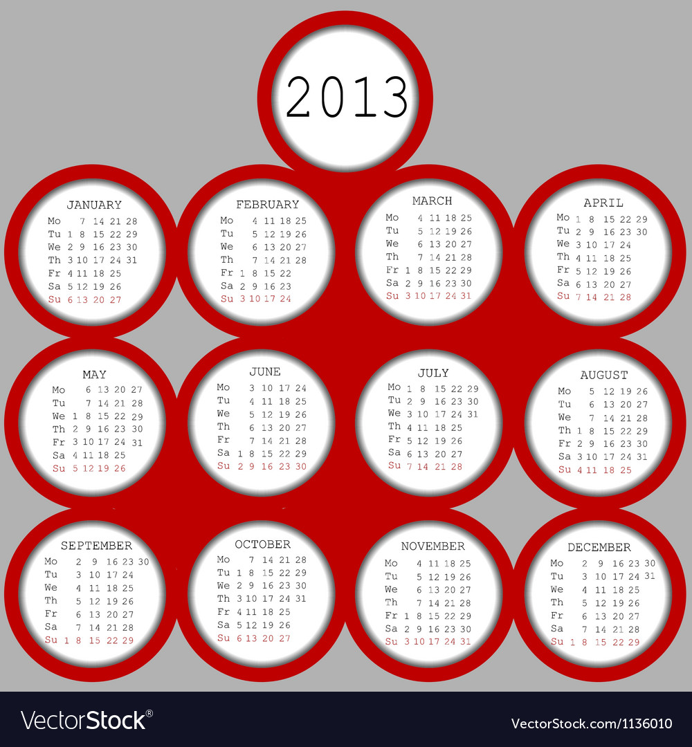 2013 red circles calendar vector | Price: 1 Credit (USD $1)