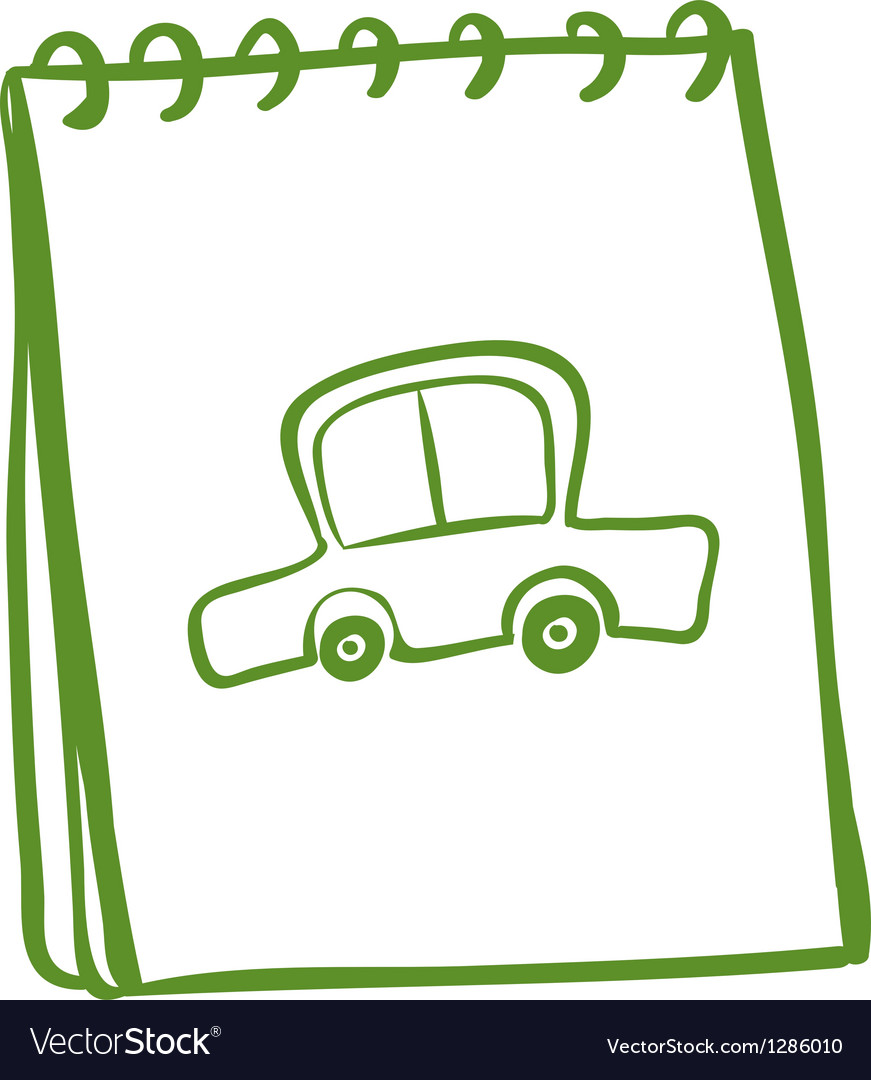 A green notebook with a car at the cover page vector | Price: 1 Credit (USD $1)