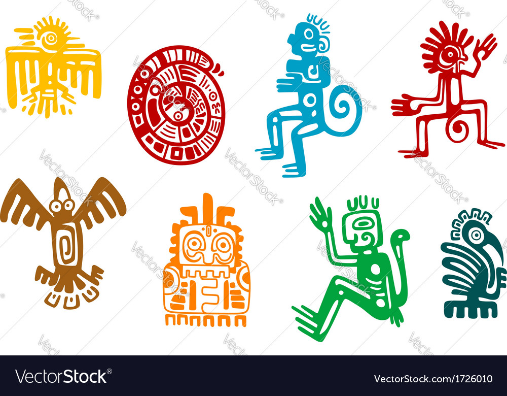 Abstract maya and aztec art symbols vector | Price: 1 Credit (USD $1)