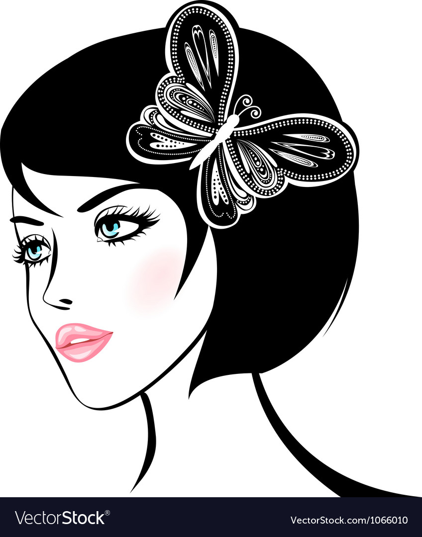 Beauty woman portrait design element vector | Price: 1 Credit (USD $1)