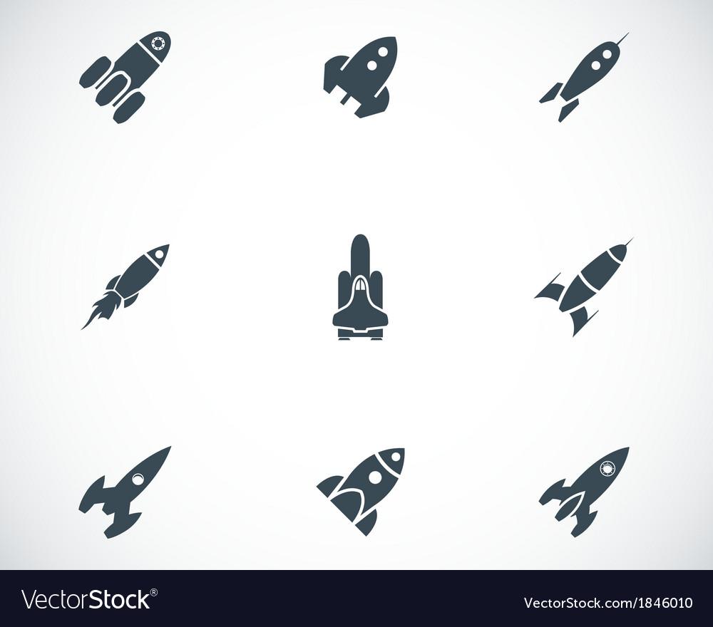 Black rocket icons set vector | Price: 1 Credit (USD $1)