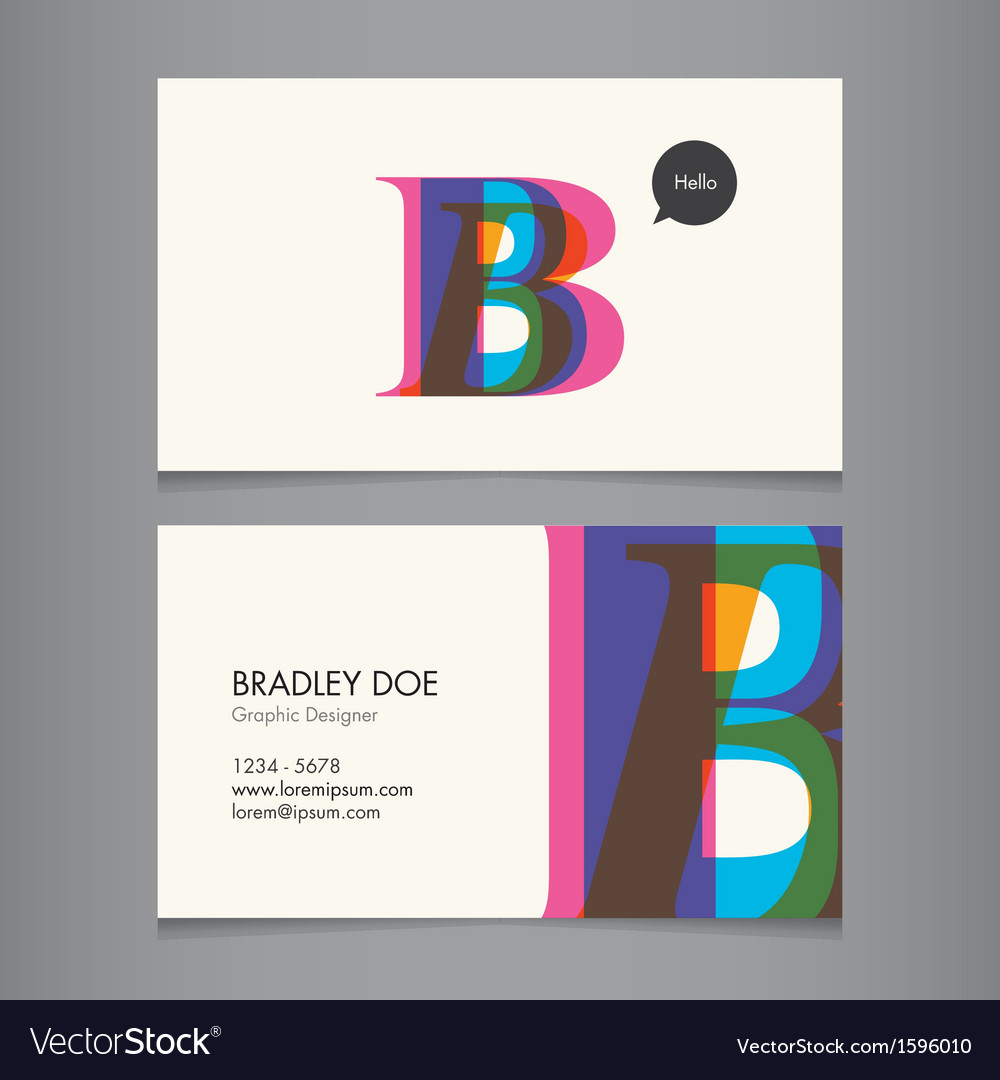Business card template letter b vector | Price: 1 Credit (USD $1)