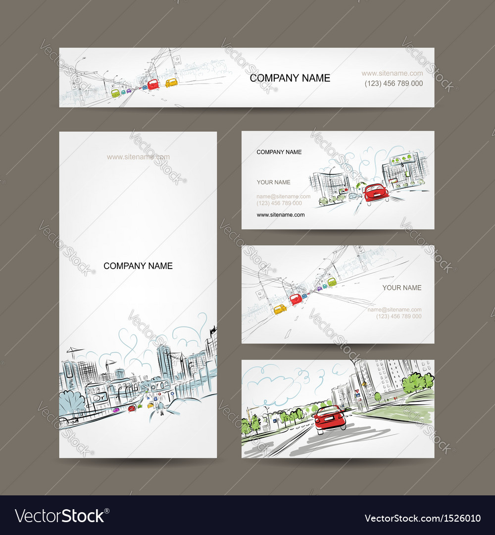Business cards collection cars on city road for vector | Price: 1 Credit (USD $1)