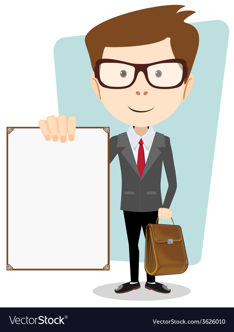 Cartoon businessman holding blank message board vector | Price: 1 Credit (USD $1)