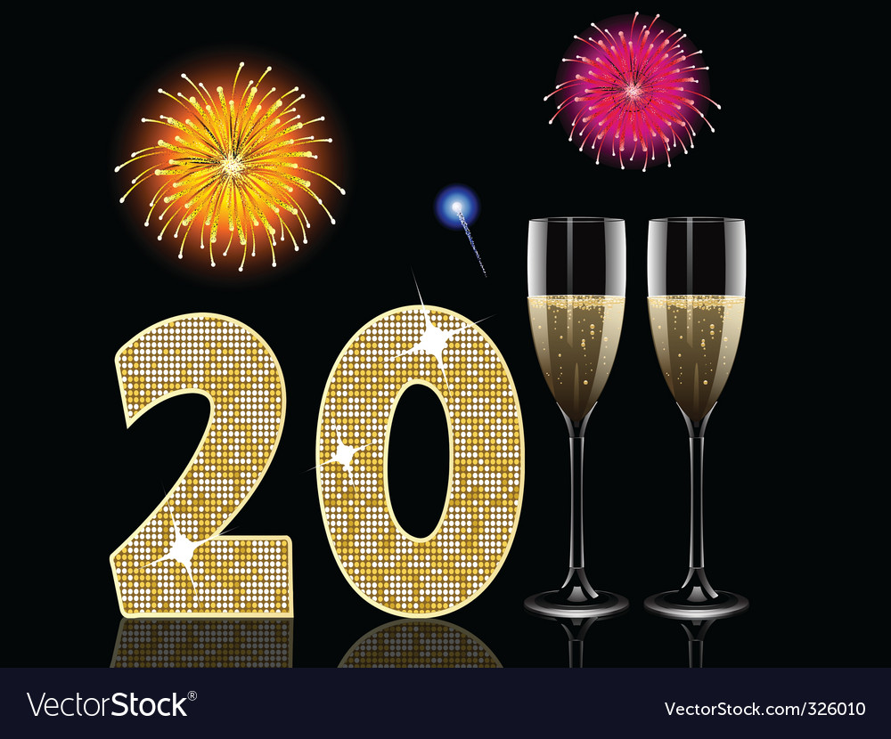 Champagne new year vector | Price: 1 Credit (USD $1)