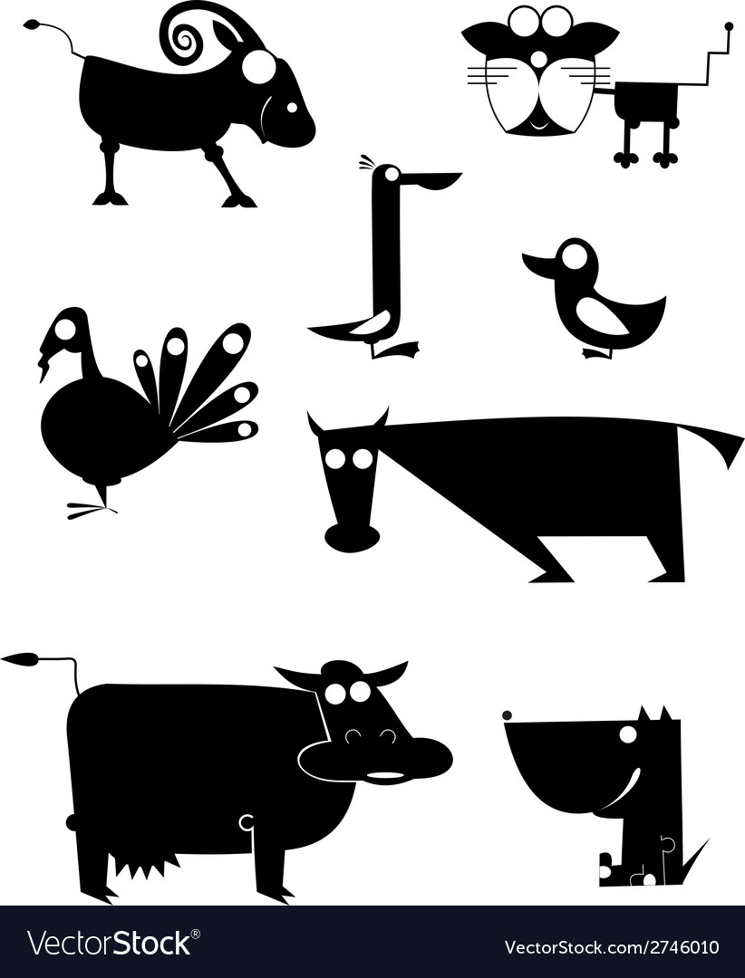 Comic farm animal silhouettes vector | Price: 1 Credit (USD $1)