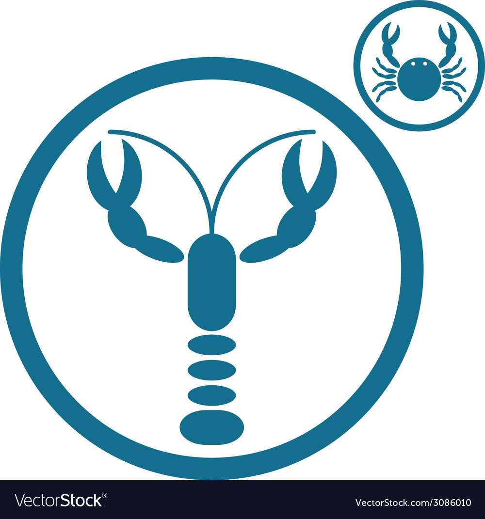 Crayfish and crab icons vector | Price: 1 Credit (USD $1)