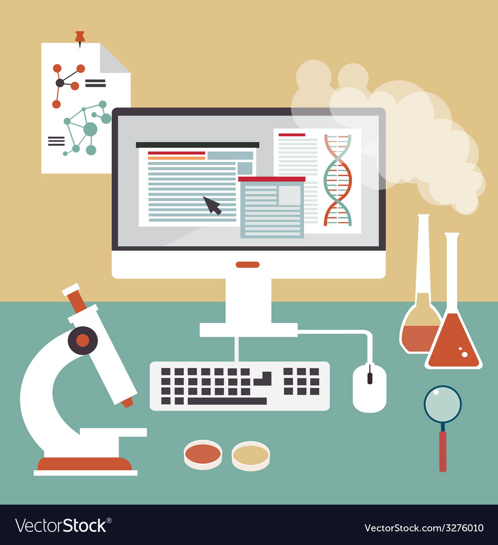 Desktop scientist chemist vector | Price: 1 Credit (USD $1)