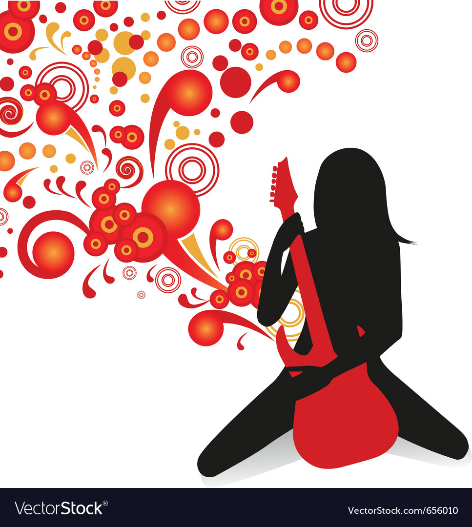 Girl playing guitar vector | Price: 1 Credit (USD $1)