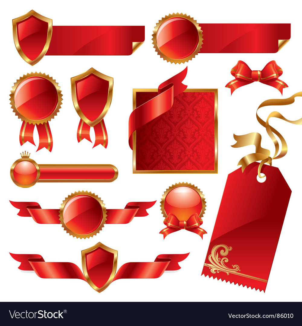 Golden red signs and labels vector | Price: 1 Credit (USD $1)