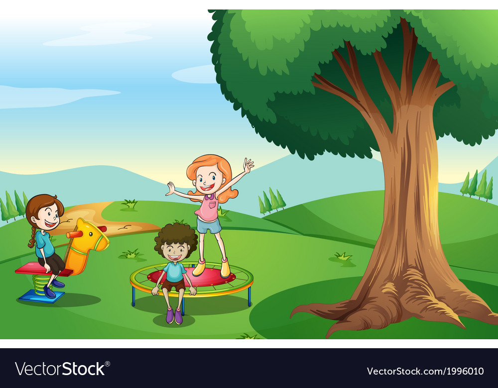 Kids playing above the hills vector | Price: 3 Credit (USD $3)