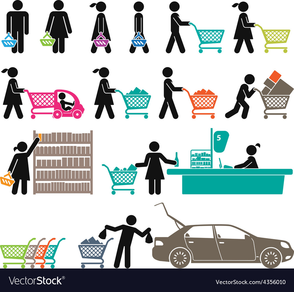 Men and women go shopping vector | Price: 1 Credit (USD $1)