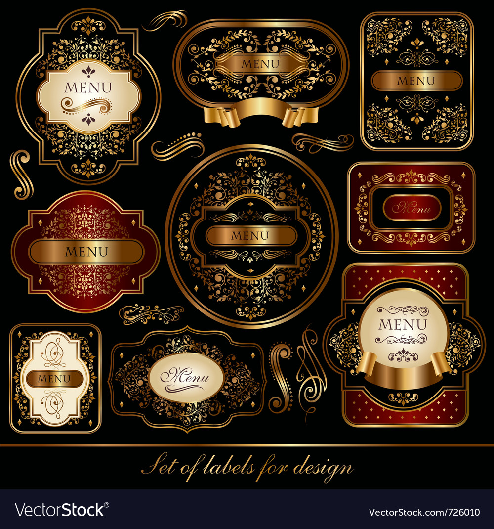 Set of black-golden elegance labels vector | Price: 1 Credit (USD $1)