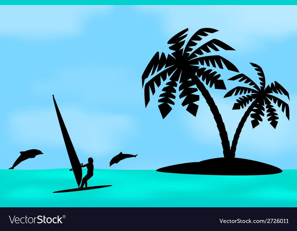 An island with a palm tree vector | Price: 1 Credit (USD $1)