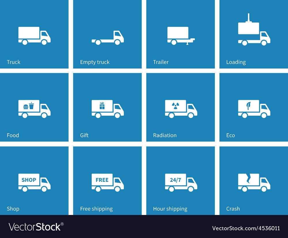 Commercial delivery truck icons on blue background vector | Price: 1 Credit (USD $1)